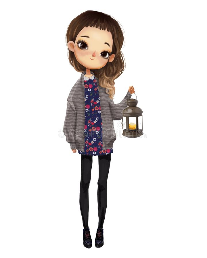 Cute girl with candle. Cute cartoon girl with candle stock illustration