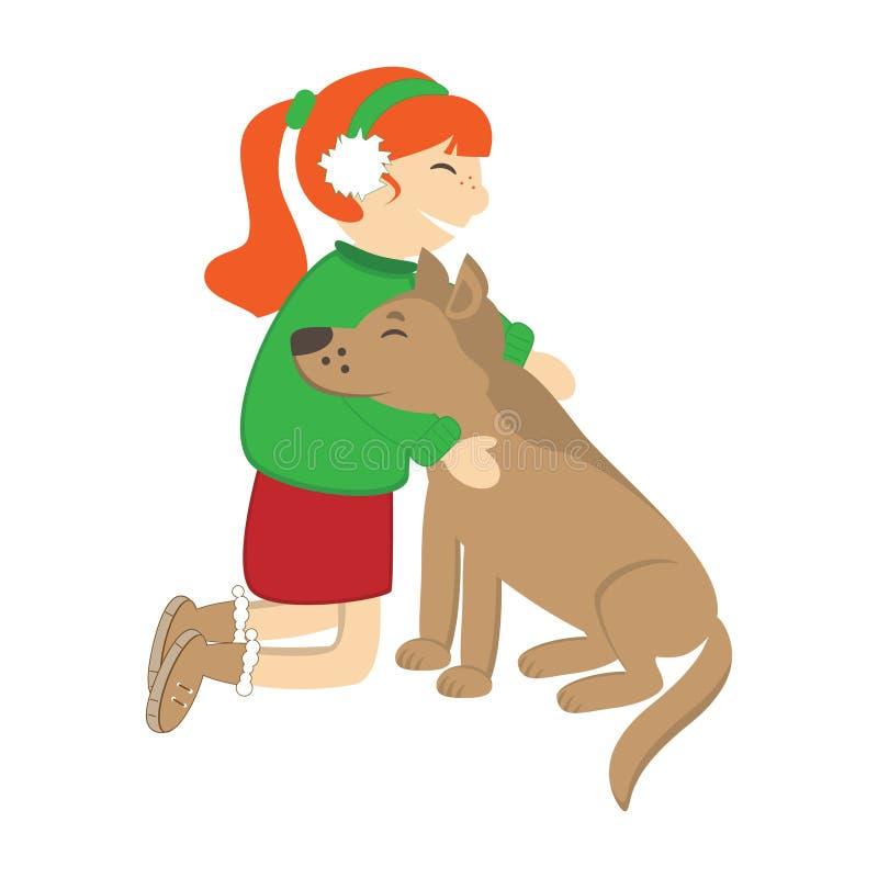 Cute girl caress the dog