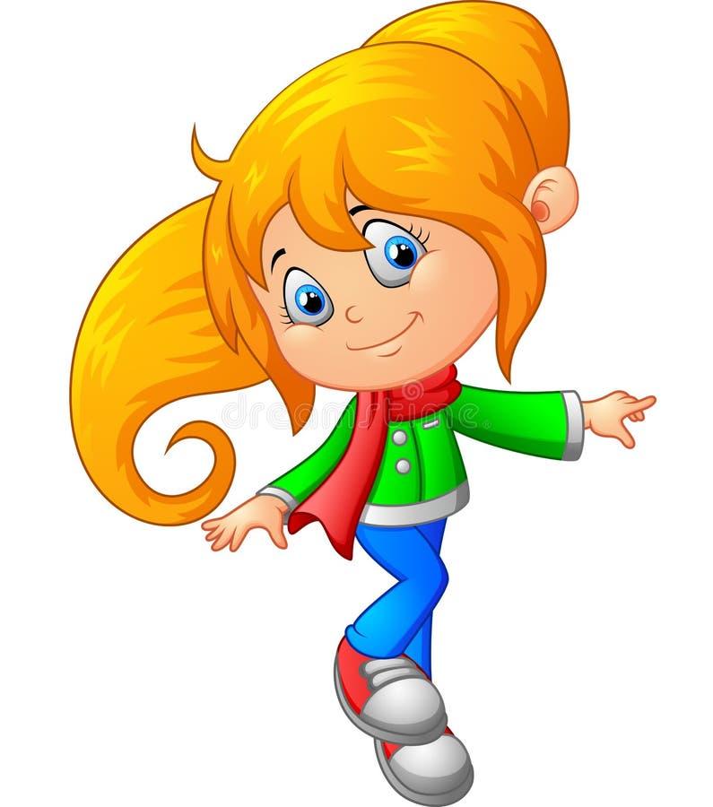 Cute girl cartoon vector illustration
