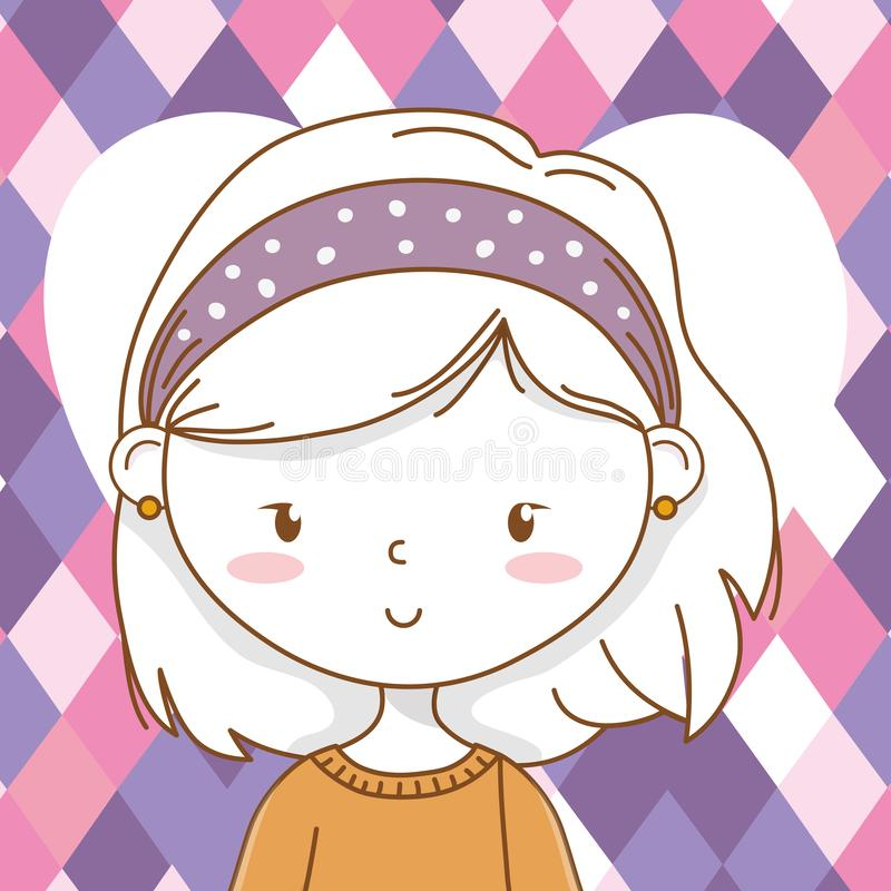 Cute girl cartoon stylish outfit portrait hear background. Cute girl cartoon stylish hairstyle nice outfit clothes blushing sweater pants portrait heart purple royalty free illustration