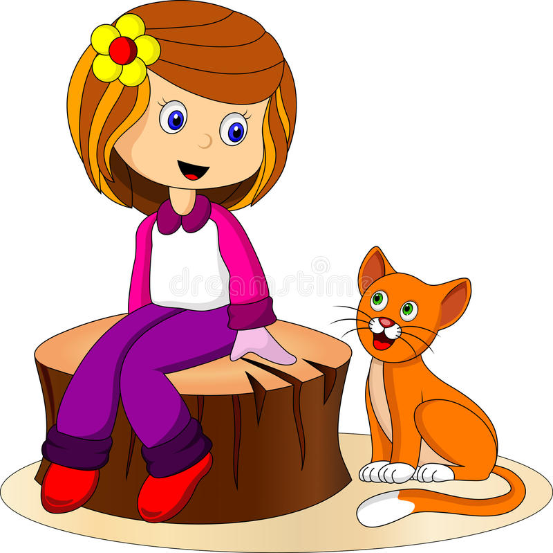 Cute Girl And Cat Royalty Free Stock Images