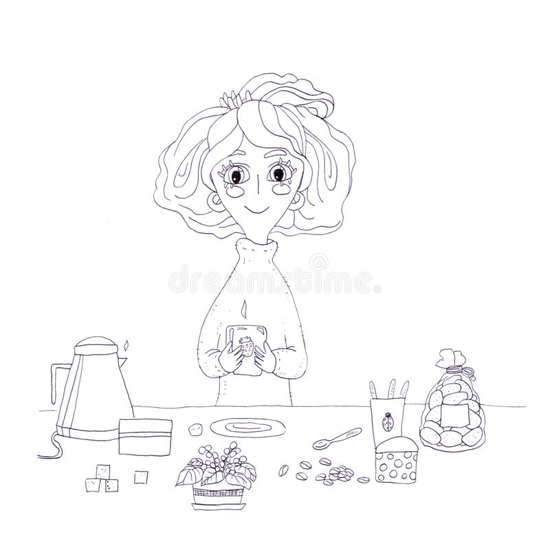 Cute girl character cartoon morning coffee cup of tea sugar break lunch black and white monochrome outline beauty positive drawing royalty free illustration
