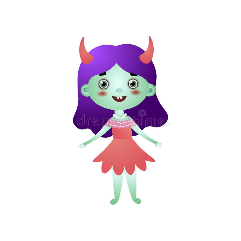 Cute girl character in devil costume and red dress stock illustration