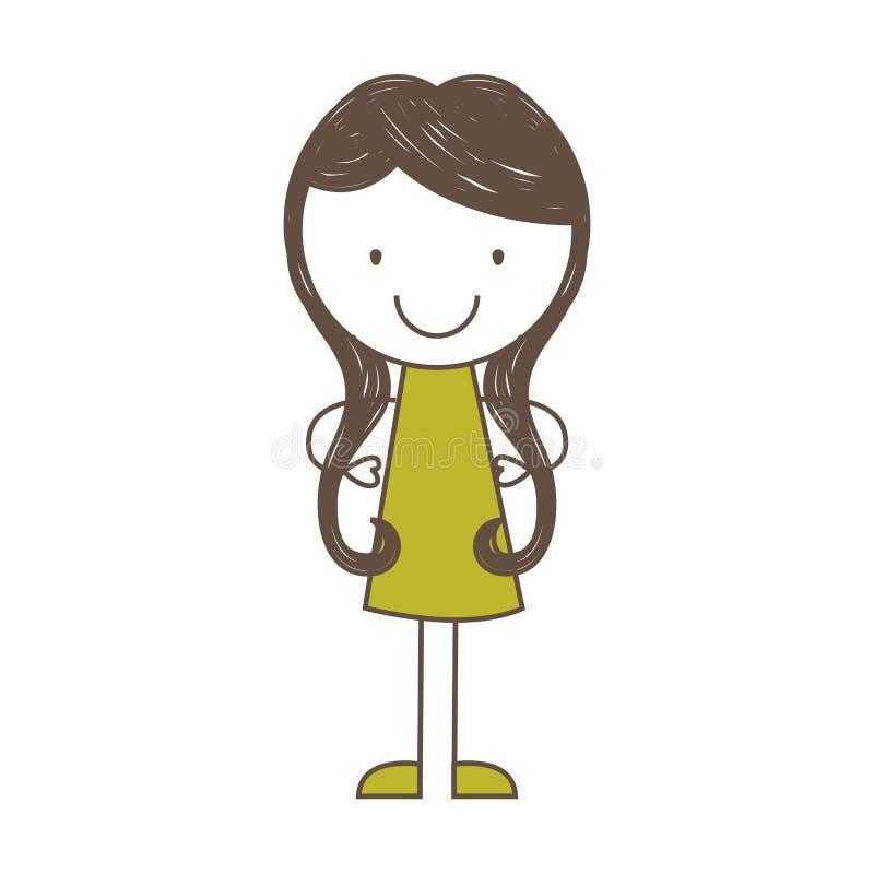 Cute girl character icon. Illustration design royalty free illustration