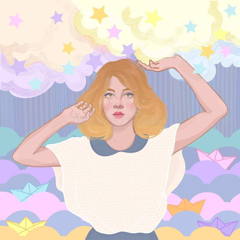 cute girl, clouds and stars, paper boat royalty free stock photos