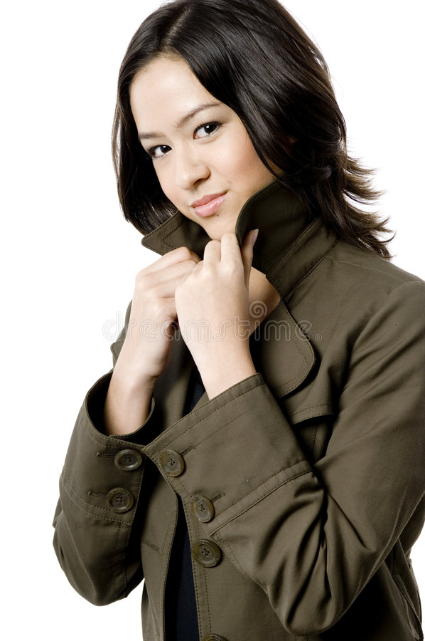 Cute Girl In Coat stock photo