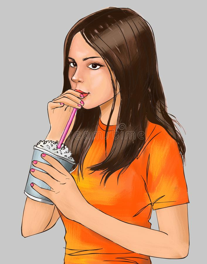 Cute girl and cold drink, cute girl is drinking beverage, girl, cute, iced drink, iced coffee, frappe coffee, crunchy drink, drink. Cute girl and cold drink royalty free illustration