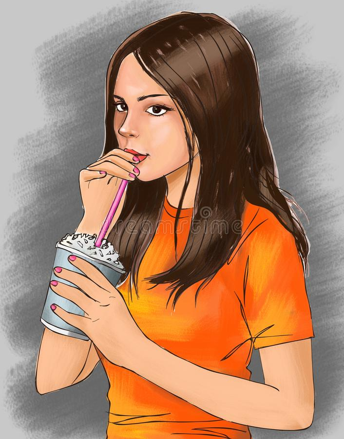 Cute girl and cold drink, cute girl is drinking beverage, girl, cute, iced drink, iced coffee, frappe coffee, crunchy drink, drink. Cute girl and cold drink stock illustration