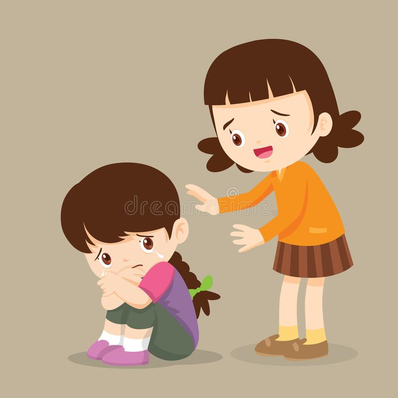 Girl Comforting Her Crying Friend So Sad Stock Vector - Illustration