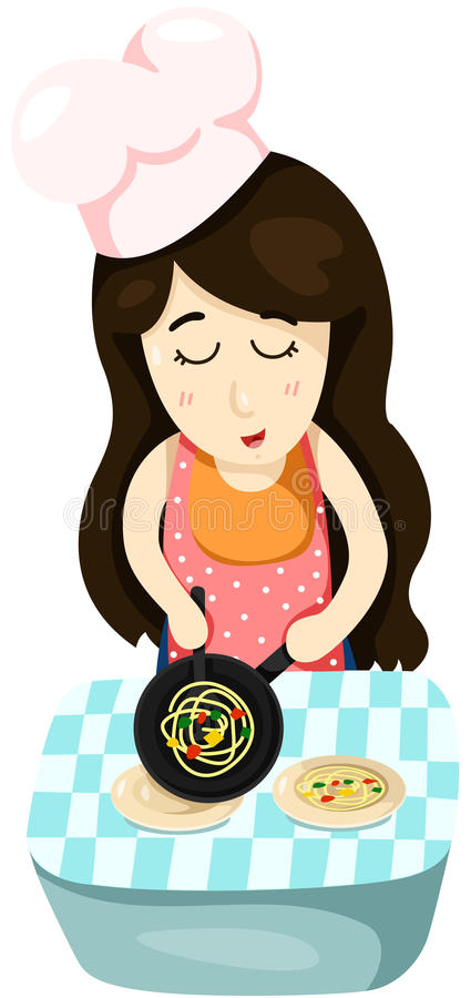 Cute girl cooking vector illustration