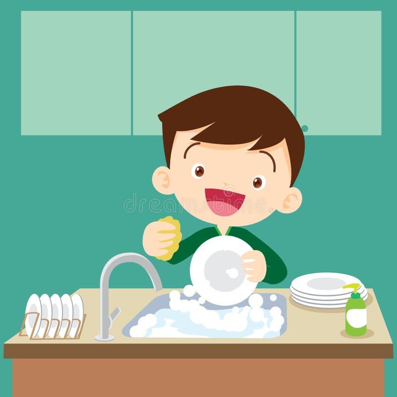 Cute boy Dish washing. Cute boy doing dishes.Teenage washing dishes royalty free illustration