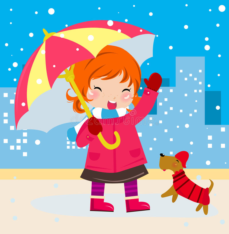 Download Cute girl and dog stock vector. Image of childhood, illustration - 17411701