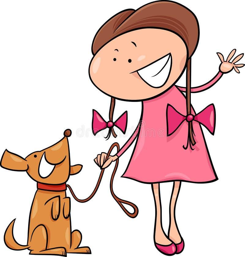 cute girl with dog cartoon illustration stock vector illustration rh dreamstime com