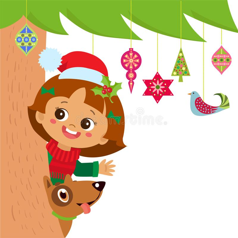 Little Girl Christmas Tree: Little Girl Near Christmas Tree Stock Vector