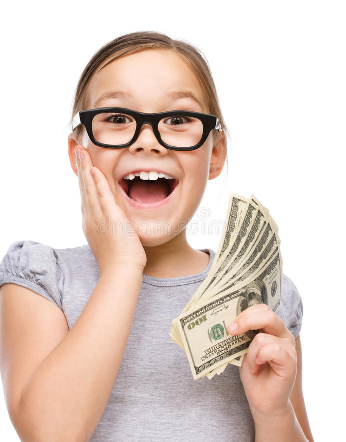 Cute girl with dollars royalty free stock image