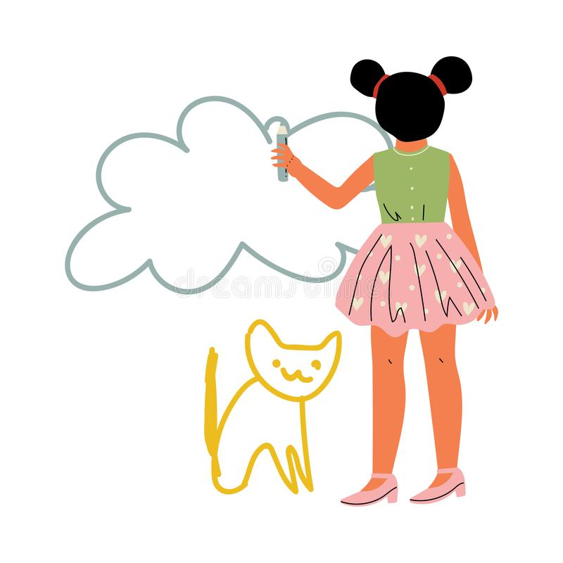 Cute Girl Drawing Picture on Wall with Color Pencils, View From Behind Vector Illustration. On White Background stock illustration