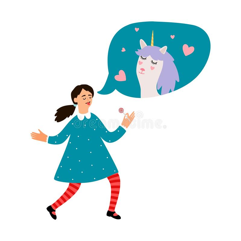 Cute girl dreams about unicorn vector illustration