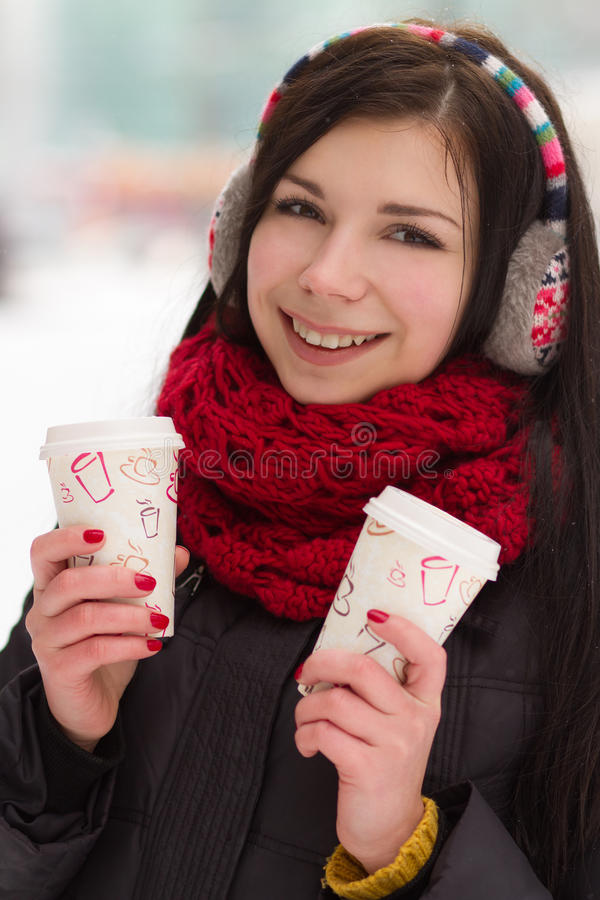 Download Cute Girl In Earplugs With Coffee Cup Stock Photo - Image of girl, beauty: 28626180