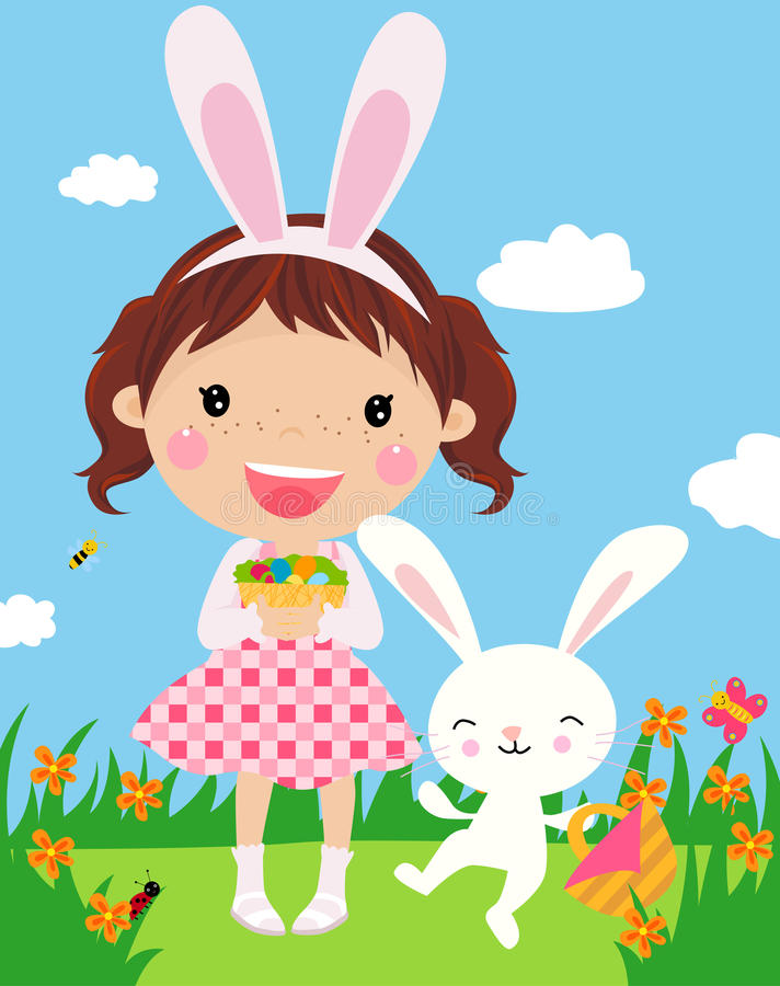 Cute girl with easter bunny and decorated eggs. stock illustration