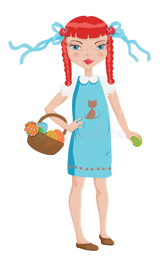 Download Cute Girl On Easter Egg Hunt Stock Vector - Image: 38220738