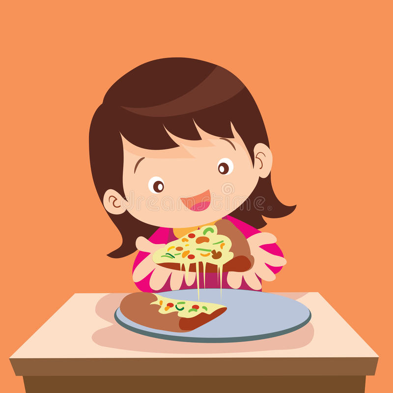 Cute girl eat pizza. Vector illustration of Girl and pizza.Beautiful girl eating pizza.Happy cute little girl holds in hands a pizza.Hungry girl eating a slice stock illustration