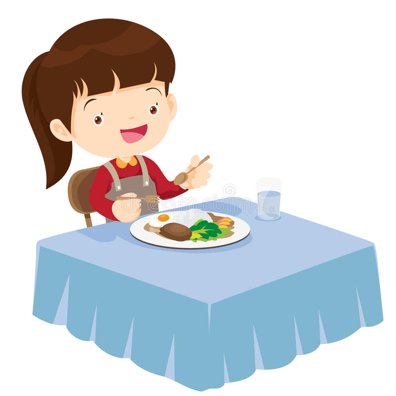 Cute Girl eating so happy and delicious. Illustration of a cute girl eating on a white background royalty free illustration