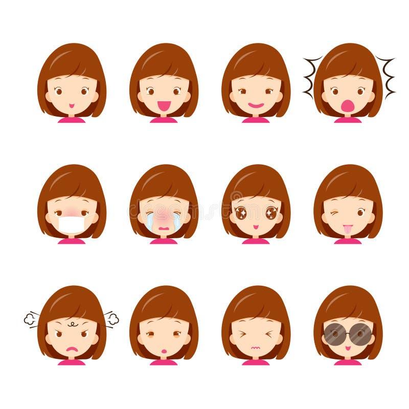 Cute girl emoticons set stock illustration