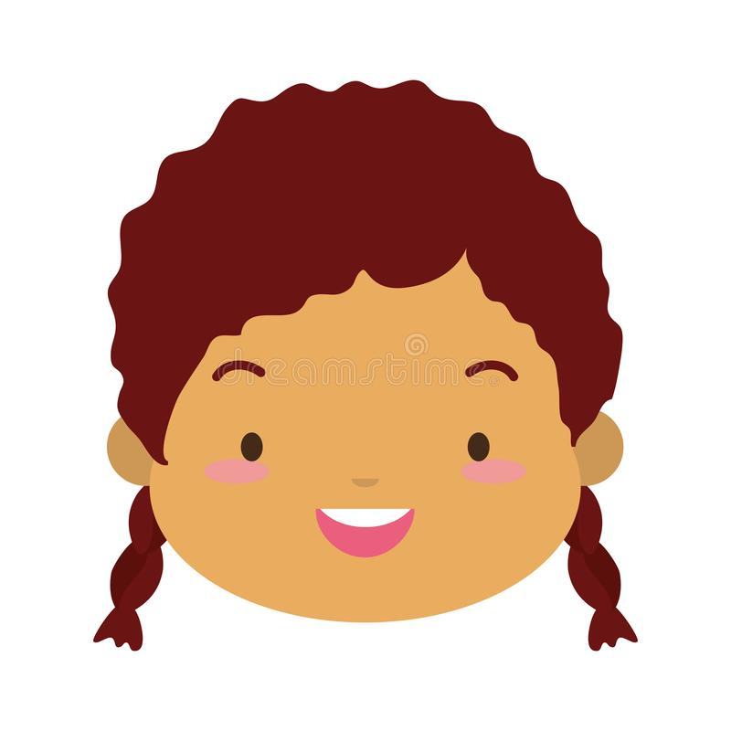 Cute girl face happy vector illustration