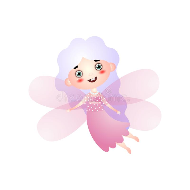 Cute girl in fairy costume with pink wings flying stock illustration