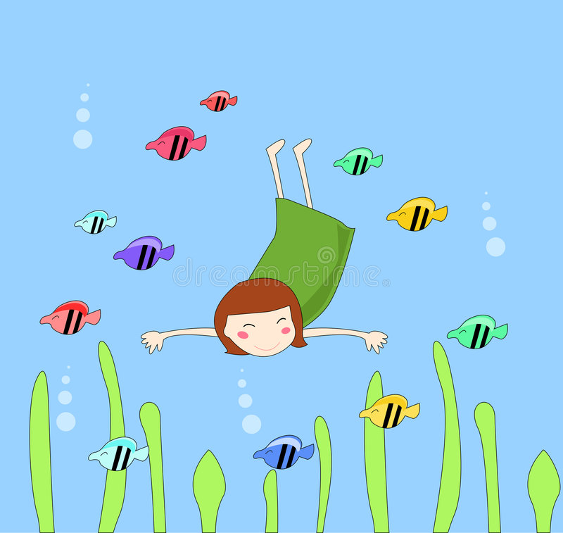 Cute girl and fish. Vector illustration of cute girl and fish vector illustration