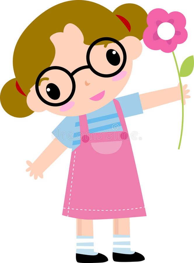 Cute girl and flower royalty free stock image