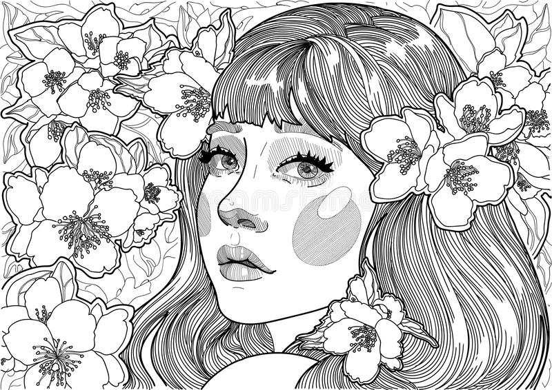 cute girl among the flowering trees stock illustration
