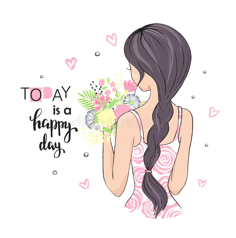 Cute girl with flowers. Today is a happy day. Vector illustration for t-shirt and other uses. royalty free illustration