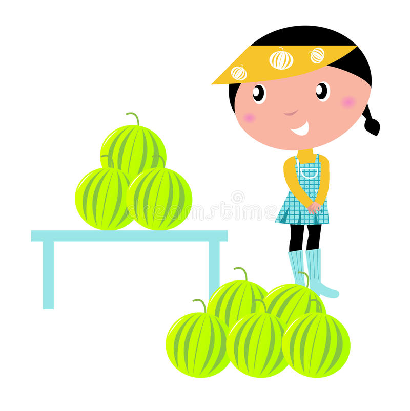 Cute Girl with fresh Water melons. stock illustration