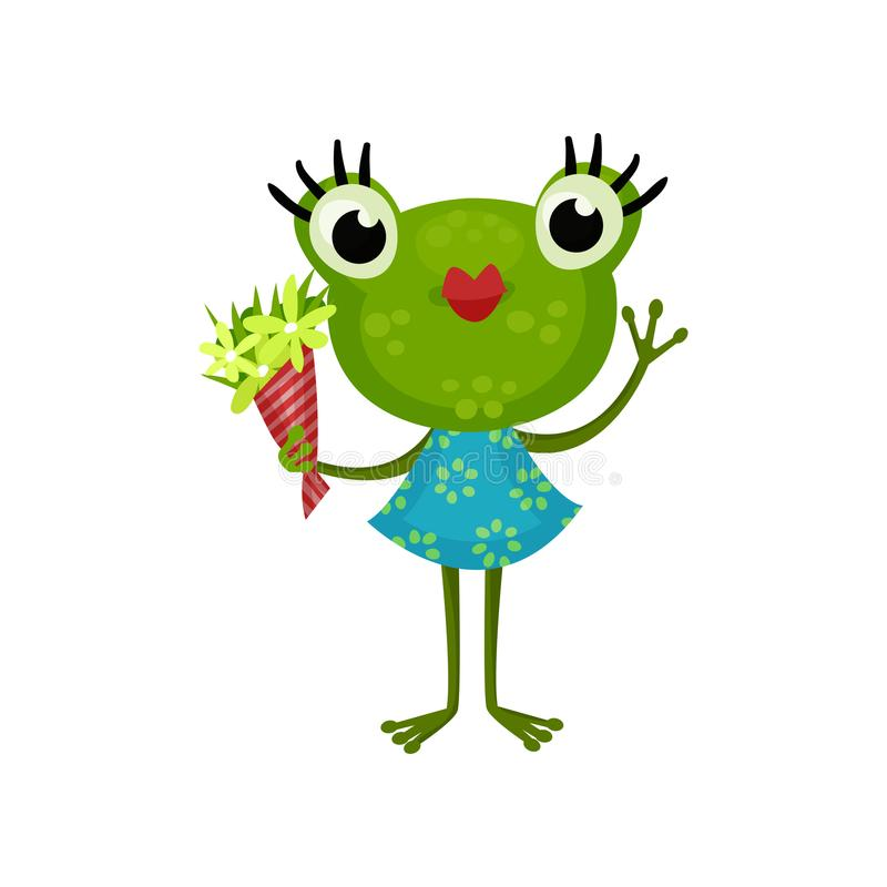 Cute girl frog standing with bouquet of flowers. Humanized toad with red lips and long eyelashes wearing blue dress. Cute girl frog standing with bouquet of vector illustration