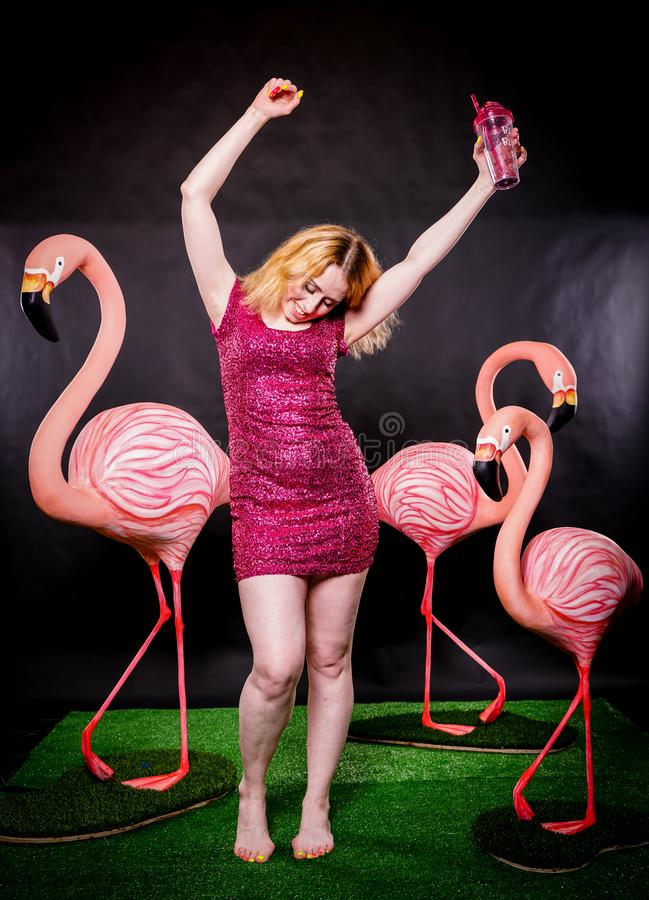 Cute girl in fuchsia sequins dress resting and dancing with three big flamingos on black background stock images