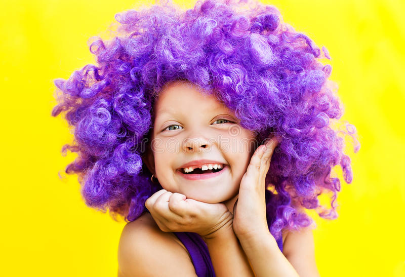 Download Cute girl in funny wig stock image. Image of amazing - 32819021