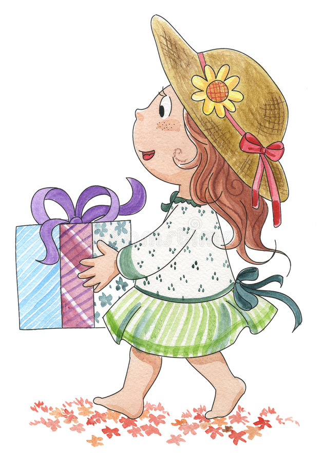Cute girl with gift stock illustration