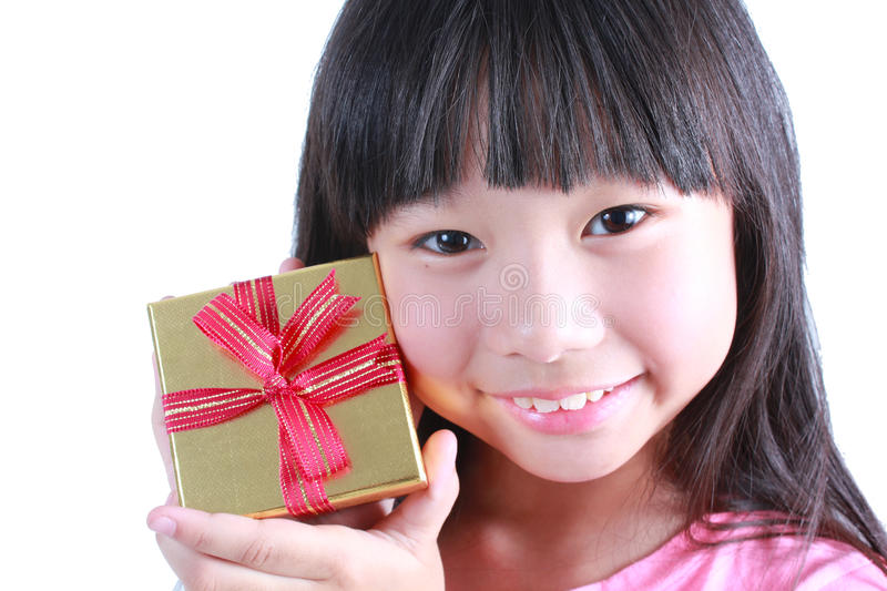 Cute girl with gift box royalty free stock images