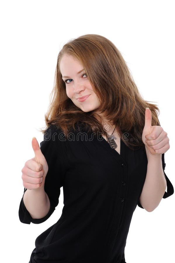 Beautiful Young Businesswoman Giving Ok Hand Sign Stock