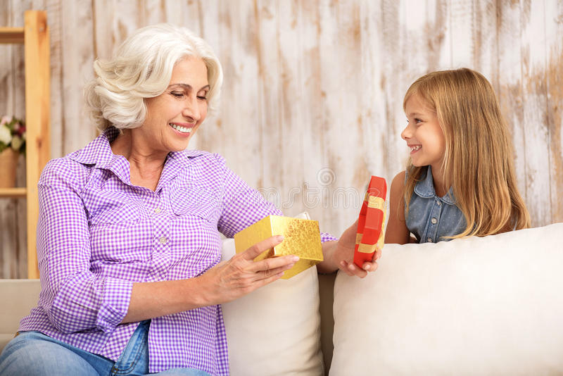 Cute girl giving present to her grandmother stock photography