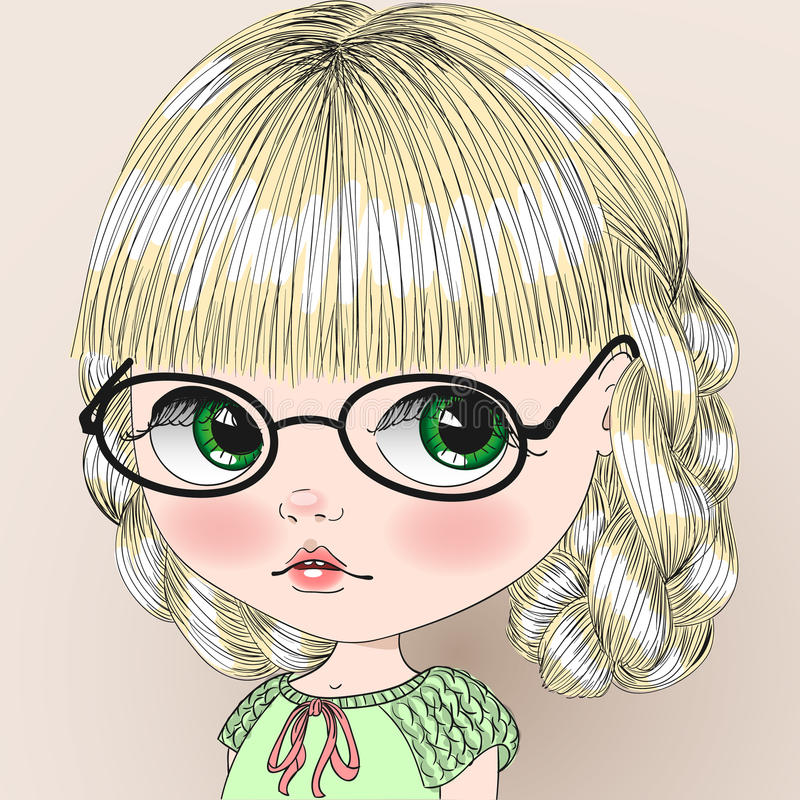 Cute Girl In Glasses With Pigtails. Stock Vector