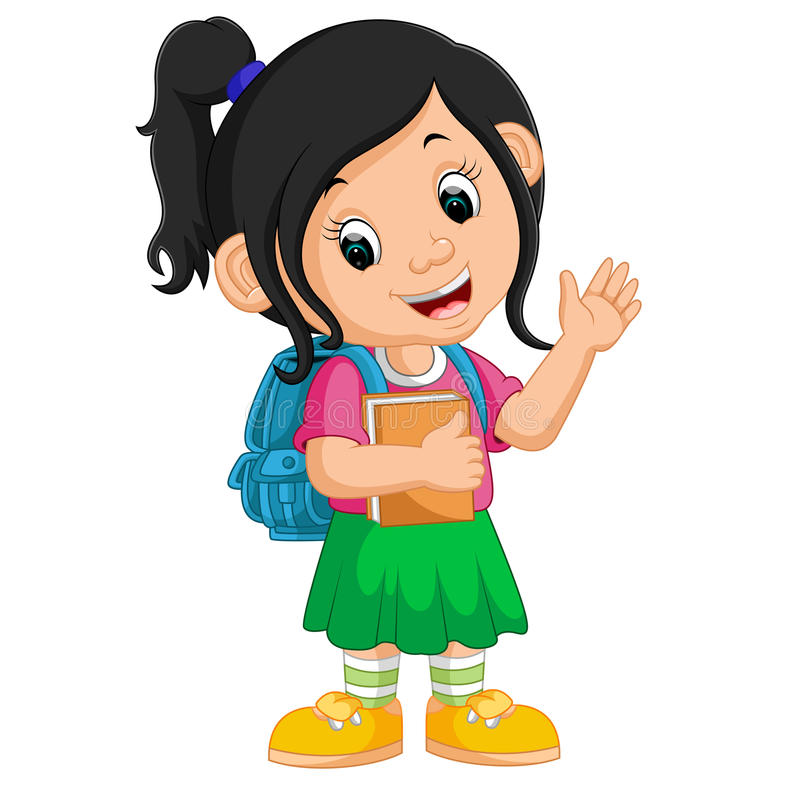 Cute girl go to school cartoon stock illustration