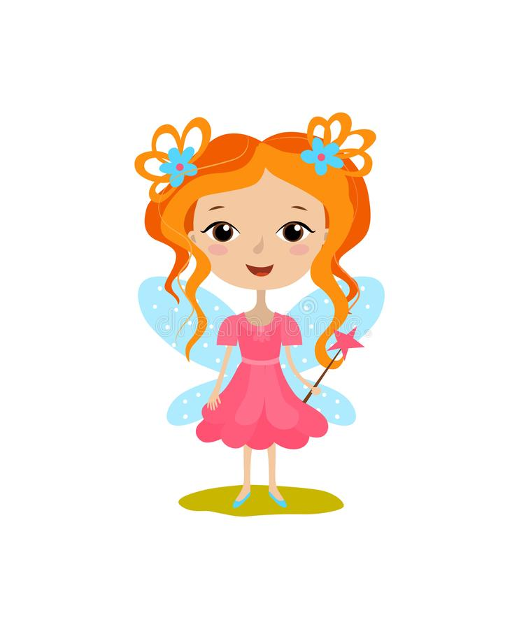 Cute girl in a good fairy costume royalty free illustration