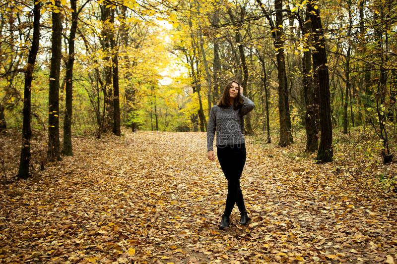 Cute girl in a gray sweater with braces on her teeth stands on the road in the autumn forest, which is covered with yellow leaves stock images