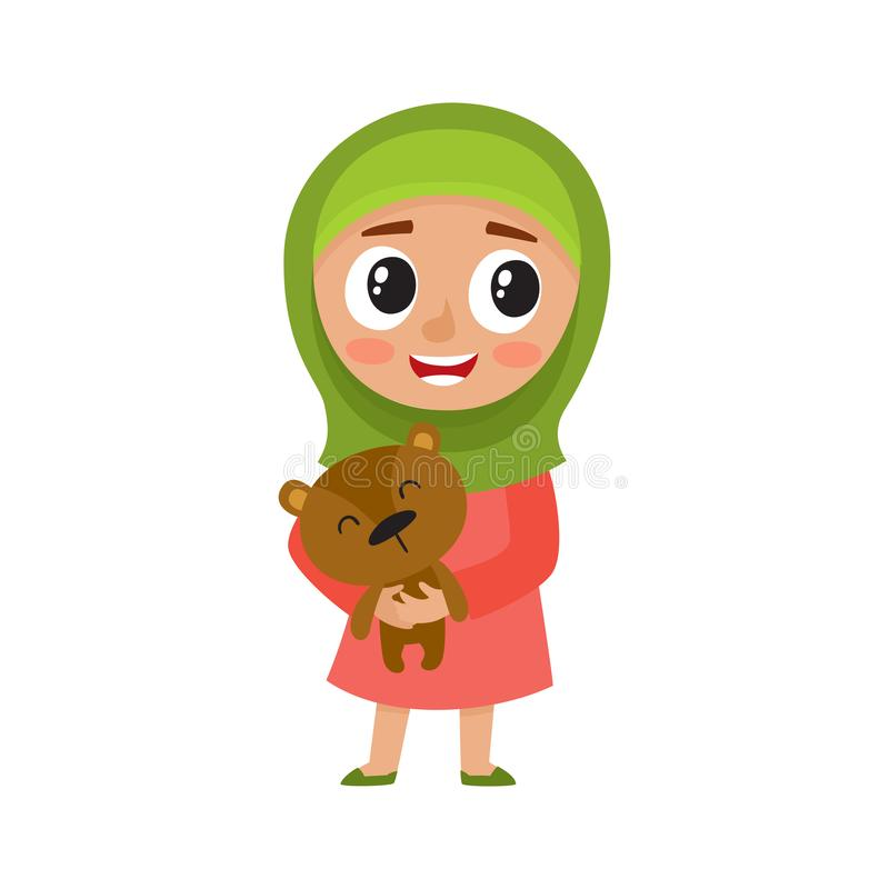 Cute girl in green hijab hold bear isolated on white. vector illustration