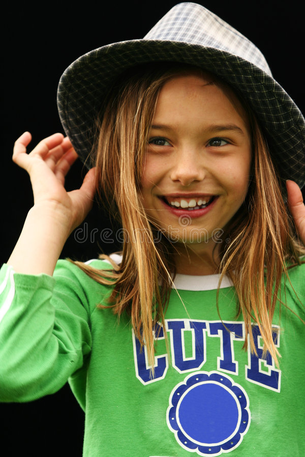 Cute Girl In Green Shirt 2 stock photo