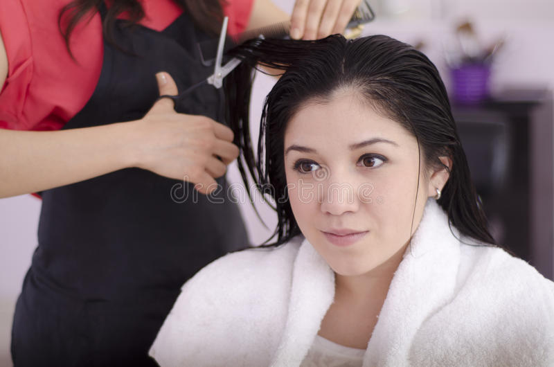 Cute girl in a hair salon. Young beautiful woman getting a haircut and in a hair salon stock image