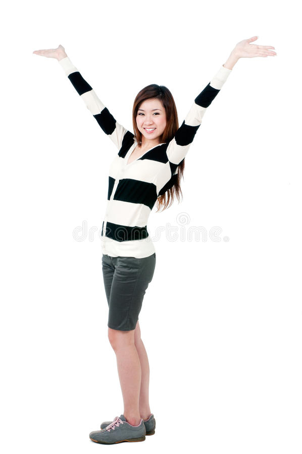 Download Cute Girl With Hands Raised Royalty Free Stock Image - Image: 24867696