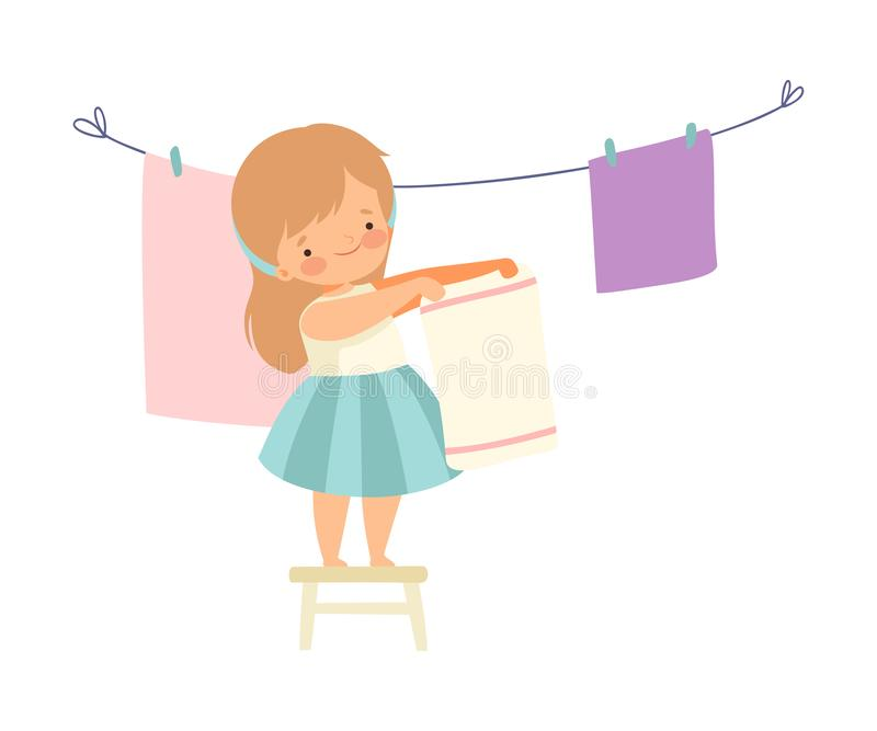Cute Girl Hanging Clean Wet Linnen Out to Dry, Adorable Kid Doing Housework Chores at Home Vector Illustration. On White Background vector illustration